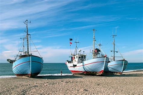 Fishing Boat North Sea by Coast Fishing Boat On Shore Noerre Vorupoer Denmark