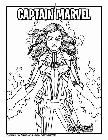 Marvel Captain Coloring Pages Draw Drawing Too