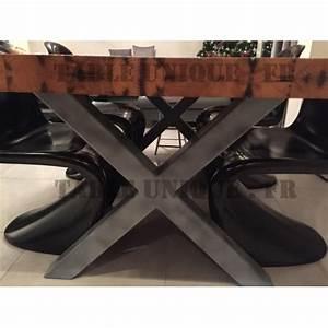 Pied De Table Original : vendu table en ch ne sauvage massif avec pieds en acier noir mat table unique ~ Teatrodelosmanantiales.com Idées de Décoration