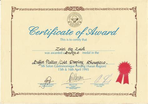 chef zairi zaidi certificate archivement