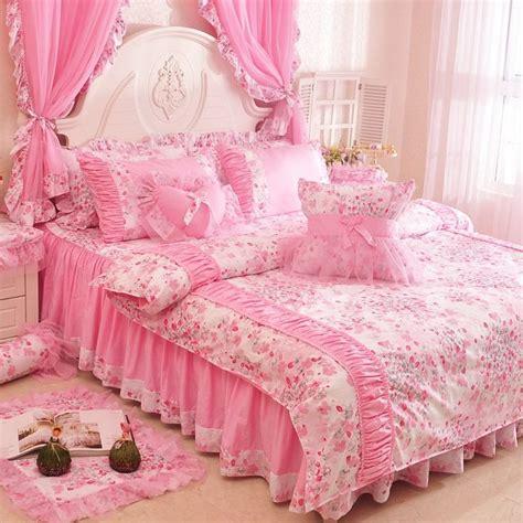 arrival pink girls lace ruffle bowtie duvet cover