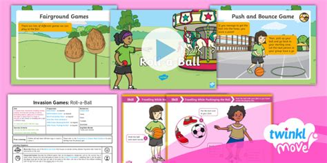 * New * Twinkl Move Pe  Y1 Invasion Games Lesson 2  Rollaball Travel