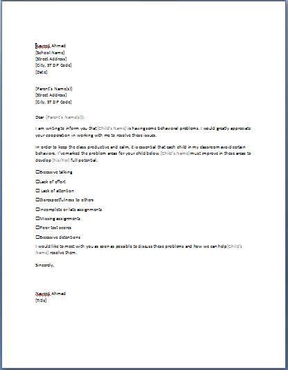sample letter  parents requesting parent teacher