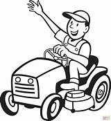 Mower Lawn Silhouette Riding Tractor Printable Coloring Getdrawings Farmer sketch template