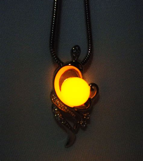 phoenix necklace glow   dark sterling silver