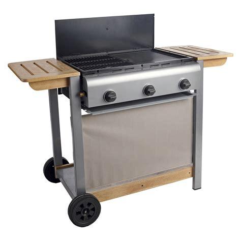 barbecue gaz 3 br 251 leurs grill plancha en fonte sur chariot