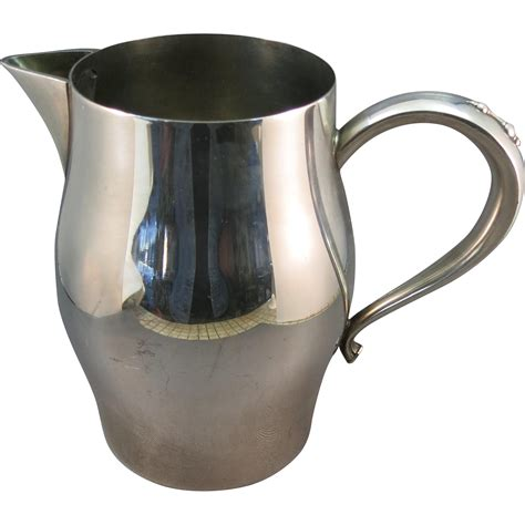 glass jug l base vintage oneida silverplated water pitcher or jug from