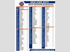 2019 Printable New York Mets Schedule