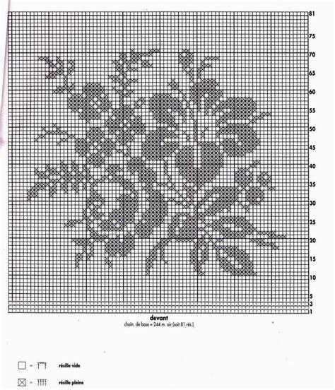 napperon carr 232 e avec desbouquet des fleurs grille filet crochet toutes les grilles grilles