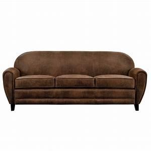 canape club 3 places marron vieilli installez vous a With tapis de marche avec canapé 3 places cuir marron