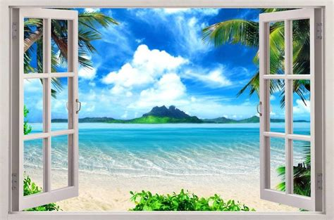 3d Window Ocean View Blue Sea Home Decor Wall Sticker: Exotic Beach View 3D Window Decal WALL STICKER Home Decor