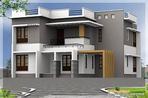 Two floor houses with 3rd floor serving as a roof deck for House design image