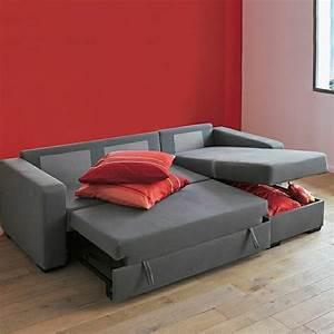 Canapé Convertible Moderne : meubles design canape convertible gris en tissu clic clac lit coffre rangement moderne ~ Teatrodelosmanantiales.com Idées de Décoration