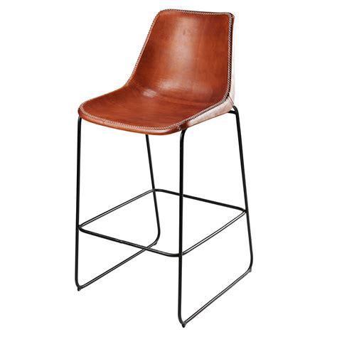 chaise de bar metal chaise de bar en cuir de chèvre marron et métal noir