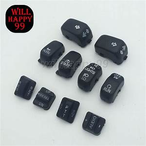 Black 10 Pcs Radio Cruise Control Switch Cap Kit For