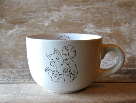 Two diner mugs heavy restaurant china coffee mugs with green. Huge 23 Oz More Kitties Mug, Large Stoneware Coffee Cup, Heavy Thick Soup Mug (With images ...