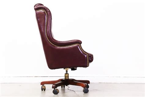 vintage burgundy leather chesterfield style office chair