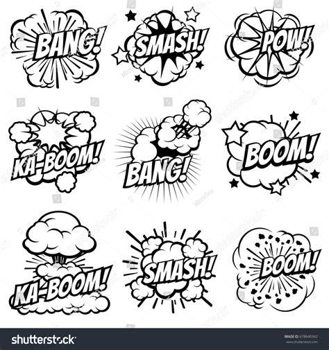 Cartoon Explode Icons Comic Book Explosion Stock Vector