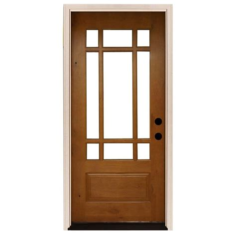 home depot prehung exterior door steves sons 36 in x 80 in craftsman 9 lite stained