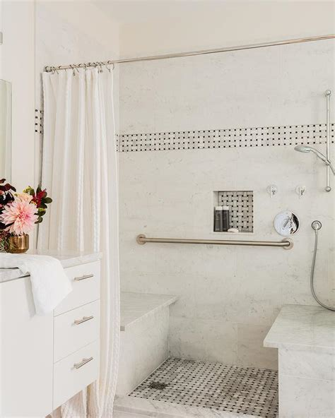 Marble Basketweave Shower Floor Tiles Design Ideas