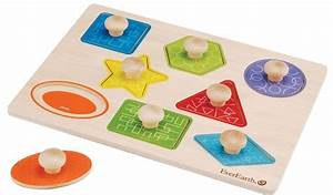 Everearth Shape Knob Puzzle Wooden shapes, Baby toys and