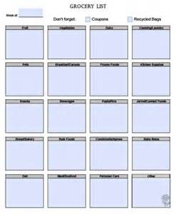 Printable Blank Grocery List Template