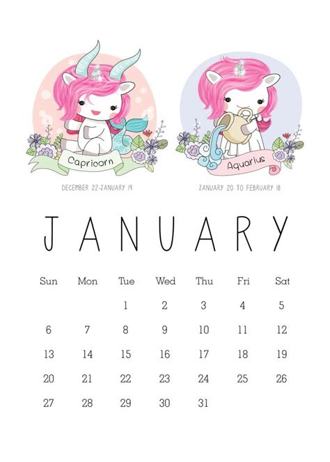 constellation of capricorn worksheet free printable 2019 zodiac sign kawaii unicorn calendar