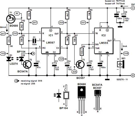 infrared proximity detector alarm circuit diagram