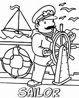 Sailor Coloring Pages Printable Professions Children Sheets Topcoloringpages Ship sketch template