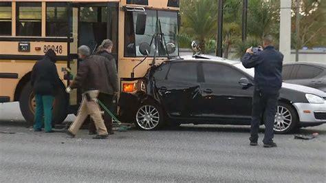 hurt school bus hits car corners area