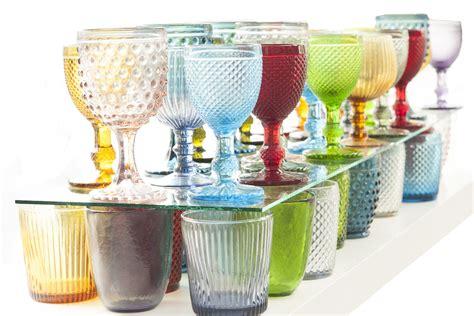 bicchieri a calice colorati bicchieri etnici vetro colorati set 6pz acccessori tavola