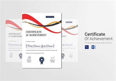 certificate template  printable word excel  psd