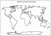 Printable Blank Map Of Continents And Oceans To Label Pdf