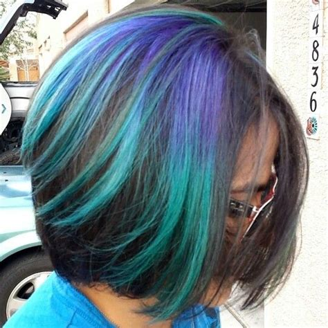 Peacock Turquoise Purple Blue Ombre Hair Hair
