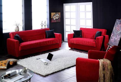 Elegant Red Microfiber Living Room with Storage Sleeper Sofa