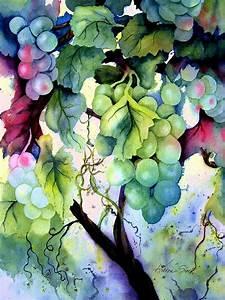 Grapes II Painting by Karen Stark