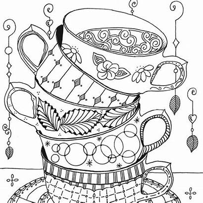 Stacked Teacups Tea Coloring Cups Pages Template
