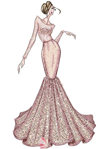 fashion hand drawing sketch  mermaid pink prom dress