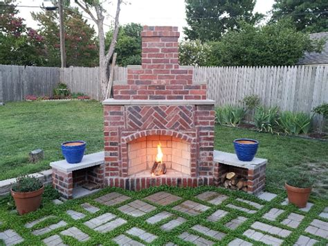 Outdoor  Diy Outdoor Fireplace Brick Fire Pit' Stacked