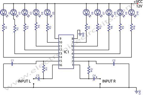 Led Stereo Sound Level Indicator Electronic Circuits