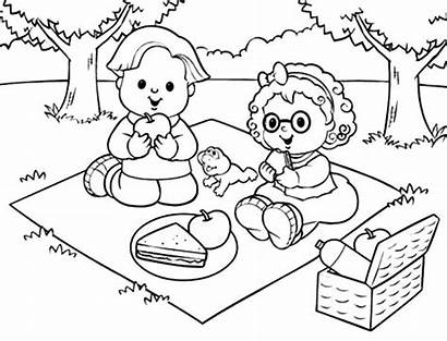 Picnic Coloring Pages Drawing Scene Teddy Netart