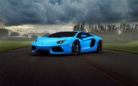 Lamborghini, Aventador, Supercar, Blue Wallpaper