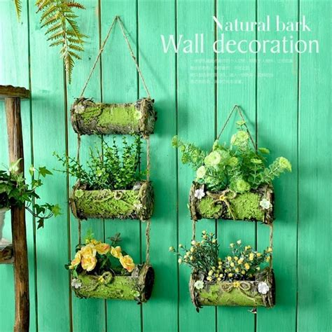 whism wood wall hanging flowers basket singledouble layer