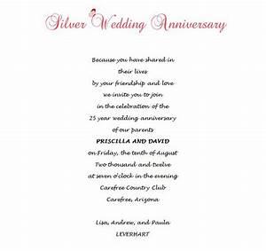 25th wedding anniversary invitations 8 wording free With 25th wedding anniversary invitations spanish