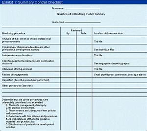 monitoring a small firm With document quality checklist