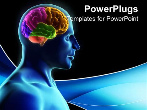 brain powerpoint templates free powerpoint template human silhouette with parts of the brain in color on blue wave and black