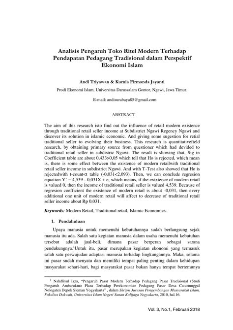 (𝗣𝗗𝗙) Analisis Pengaruh Toko Ritel Modern Terhadap