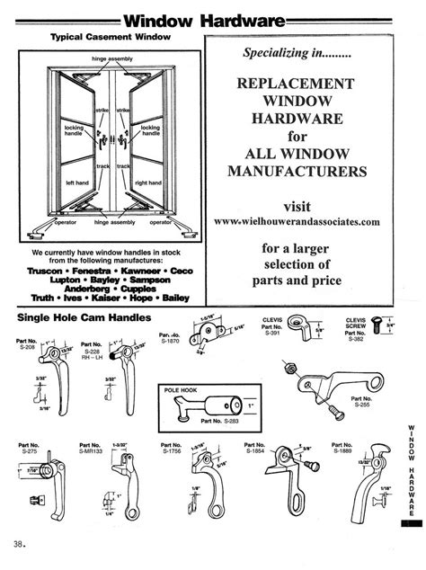 casement window diagram single hole cam handles wielhouwer replacement hardware specialists