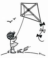 Flying Coloring Children Kite Windy Kites Hill Cartoon Clipart Simple Clip Drawing Activity Outline Doodle Windswept Illustrations Drawn Pen Ink sketch template