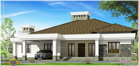 Big single storied house exterior - Kerala home design and
